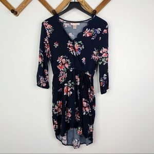 BANK OF GYPSIES floral faux wrap dress